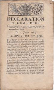 Déclaration de l'empereur, concernant l'Emploi des Biens des Couvens supprimés