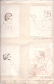Four ink drawings, portraits in the style of Daniel Maclise