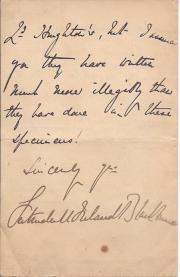 Letter Signed from the Victorian author Gertrude Mary Ireland Blackburne