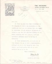 Typed Letter Signed by J. Wilson Taylor, Honorary Secretary, The Pilgrims