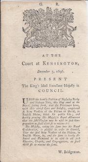 Printed declaration, headed 'G. R. | At the Court at Kensington, December 3, 169
