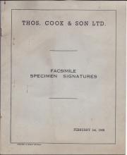 Thos. Cook & Son Ltd. Facsimile Specimen Signatures