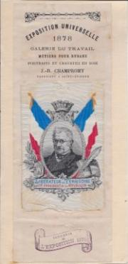 Woven silk portrait of Adolphe Thiers by J.-B. Champrony of Saint-Étienne