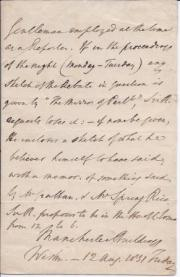 Autograph Letter in the third person from Sir Robert Inglis