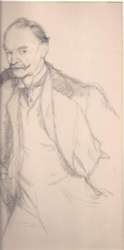 Lithograph of drawing of Thomas Hardy by Sir William Rothenstein