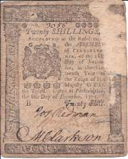 Philadelphia twenty-shilling Bill of Credit