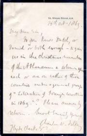 Autograph Letter Signed ('Charles W. Dilke')