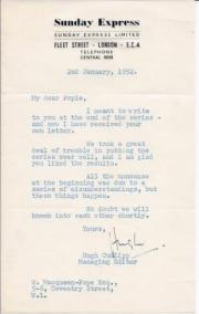 Typed Letter Signed ('Hugh') from Hugh Cudlipp