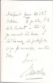 Autograph Letter Signed ('J Morley') from the politician John Morley