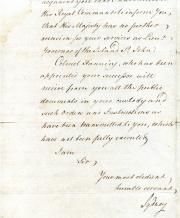 Thomas Townsend, Viscount Sydney, Governorship of St John's Island, Document