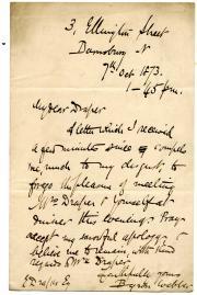 Autograph Note Signed Byron Webber, novelist
