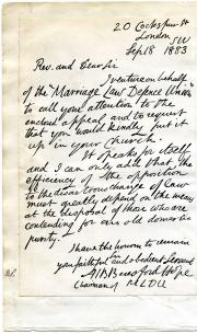 Beresford-Hope, facsimile letter,  Marriage Law Defence Union