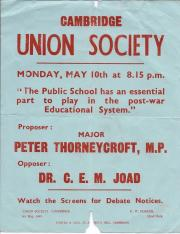 Poster advertising the 1943 Cambridge Union Society debate