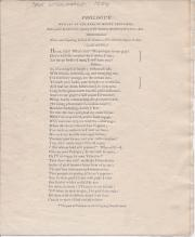 [printed handbill] Prologue written by the Earl of Mount Edgcumbe