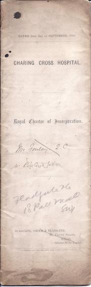 Charing Cross Hospital, London, Royal Charter of Incorporation, 1883