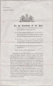 Printed Government circular, Poor Law, 1845