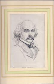 Attractive black and white pen portrait of the American novelist Nathaniel Hawth