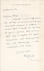 Letter Signed from Rupert Hart-Davis