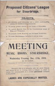 Minute Book of the Stourbridge Citizen's League, 1919-1921.