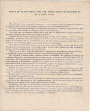 Draft of Resolutions for the Permanent Establishment of a Navy Club