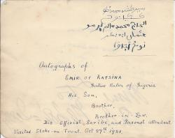 Signatures of the Emir of Katsina, his son, brother, brother-in-law