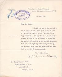 Six Typed Letters and Notes Signed 'Cecil Harcourt Smith'