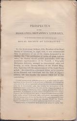 Prospectus of the Biographia Britannica Literaria