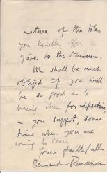 Two Autograph Letters Signed  Bernard Rackham