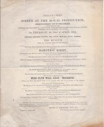 Programme of the Soirée at the Royal Institution