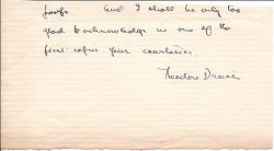Part of Autograph Letter Signed Theodore Dreiser,