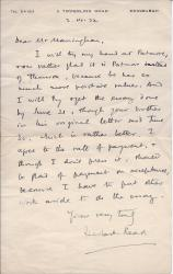 "Autograph Letter Signed ""Herbert Read"""