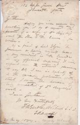 Autograph Letter Signed by 'J. B. Eardley-Wilmot L.L.D.'