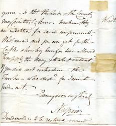 Letter bySir Charles Napier mentioning the Sea Wolf.