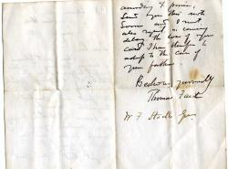 Autograph Letter Signed ('Thomas Faed', artist)