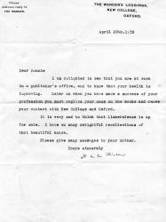 Two Autograph Letters Signed and one Typed Letter Signed  'H A L Fisher'
