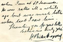"Autograph Note Signed ""H Rider Haggard"", novelist,"