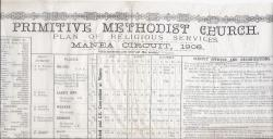 Calendar, printed on India paper, of the 'Primitive Methodist Church