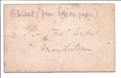 Calling card of Admiral Sir Charles Napier