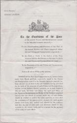Printed Government circular, Poor Law, 1845