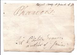 Autograph Signature ('P. Francis:'), cut from letter, of Sir Philip Francis