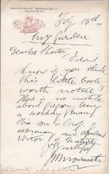 Autograph Letter Signed from the publisher J. W. Arrowsmith