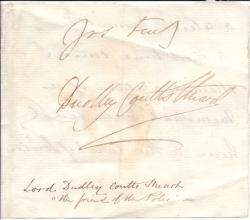 Autograph Signature ('Dudley Coutts Stuart') of Lord Dudley Coutts Stuart