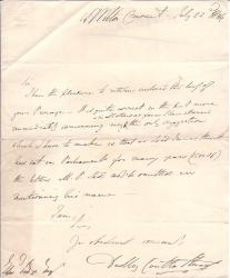 Autograph Letter Signed from 'Dudley Coutts Stuart'